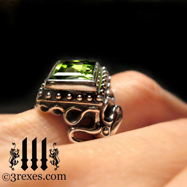 gothic wedding rings,  green peridot silver bands for women and ladies with an alternative lifestyle, unique promise ring