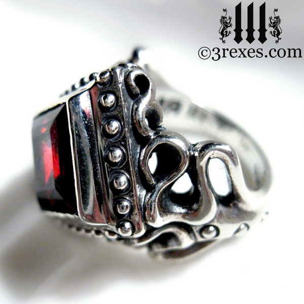 silver studded garnet ring for women, goth engagement band for her, medieval wedding band for ladies, vampire jewellery