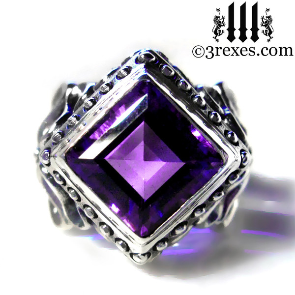 women's gothic wedding ring with purple amethyst, silver alt jewelry