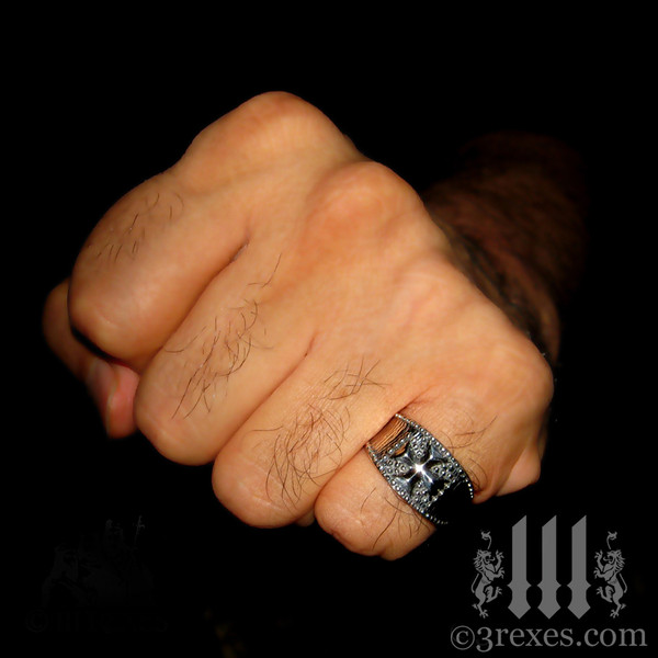 mens studded iron cross ring .925 sterling silver gothic medieval band knights templar masonic jewelry for pirates