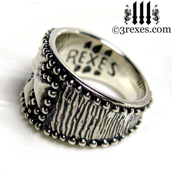 mens studded iron cross ring .925 sterling silver gothic medieval band knights templar masonic jewelry logo detail
