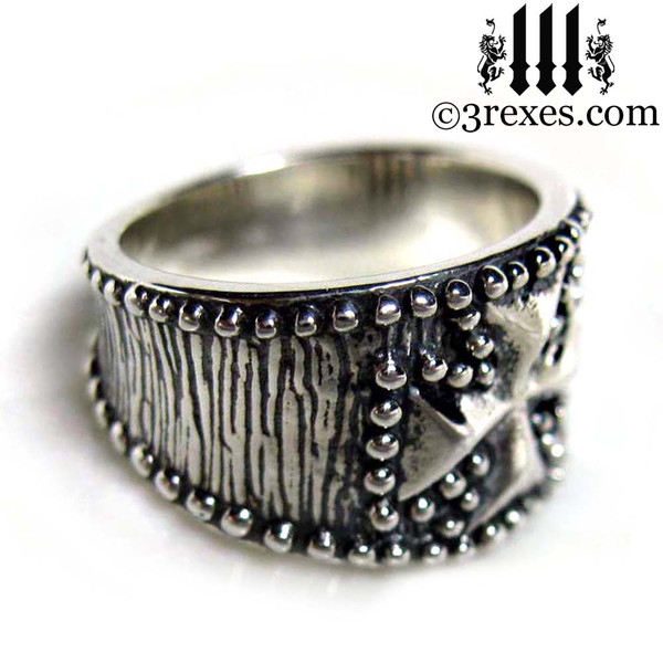 mens studded iron cross ring .925 sterling silver gothic medieval band knights templar masonic jewelry side detail