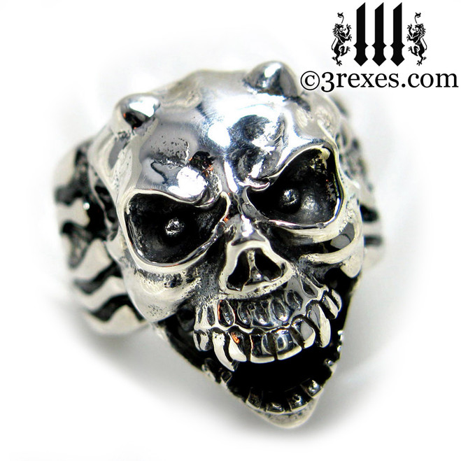 .925 sterling silver skull gargoyle ring with open jaw