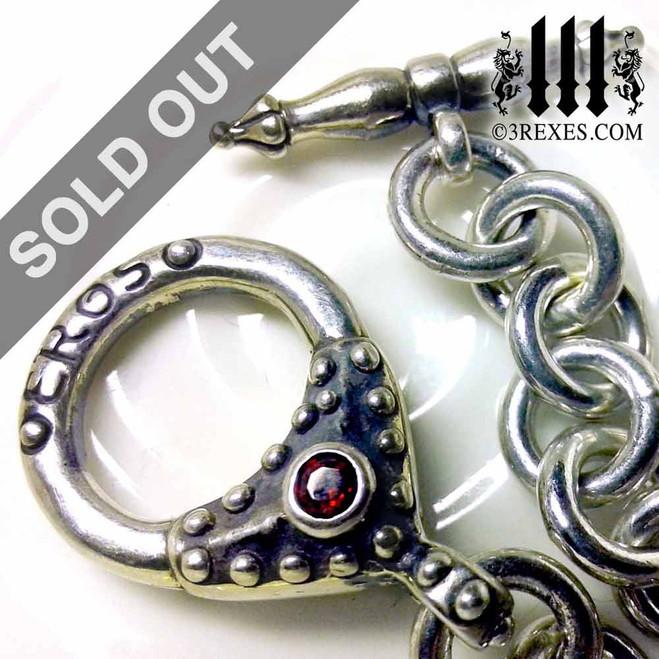 "Eros Gothic Heart Charm Bracelet .925 Sterling Silver Fairytale Red Garnet Stone 8"""