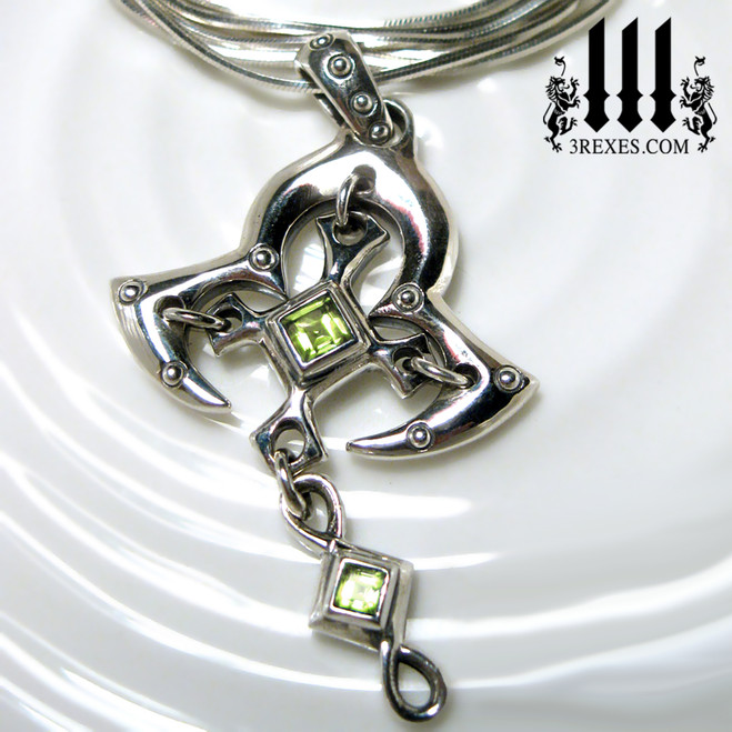 moorish princess silver cross necklace with green peridot stones renaissance gothic medieval jewelry