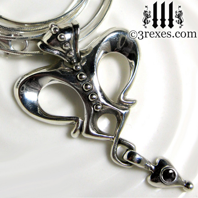 queen of hearts gothic crown necklace with black onyx stone