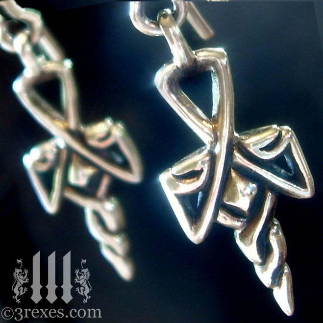 gothic cross charm earrings .925 sterling silver