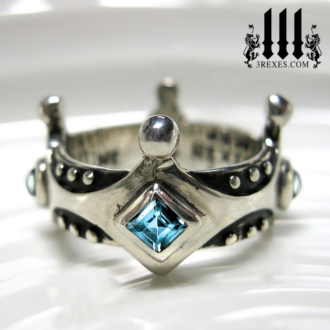 women's gothic wedding ring, medieval crown ring with blue topaz, .925 sterling silver brandy wine band with studs, princess stones, alternative alt engagement band