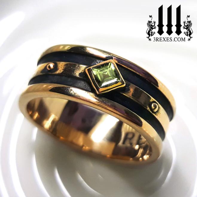 Bronze Moorish Gothic 1 Stone Ring gothic green peridot medieval band for mens wedding