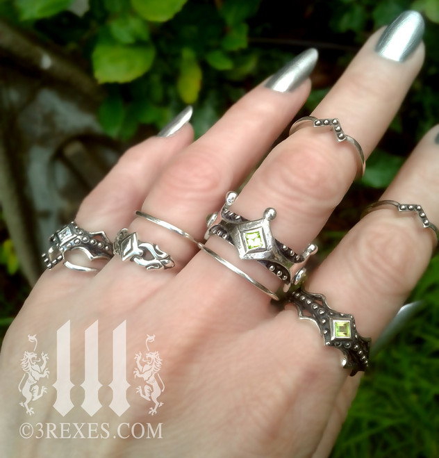 love v ring worn as a stacking ring .925 sterling silver gothic band, goth fashion