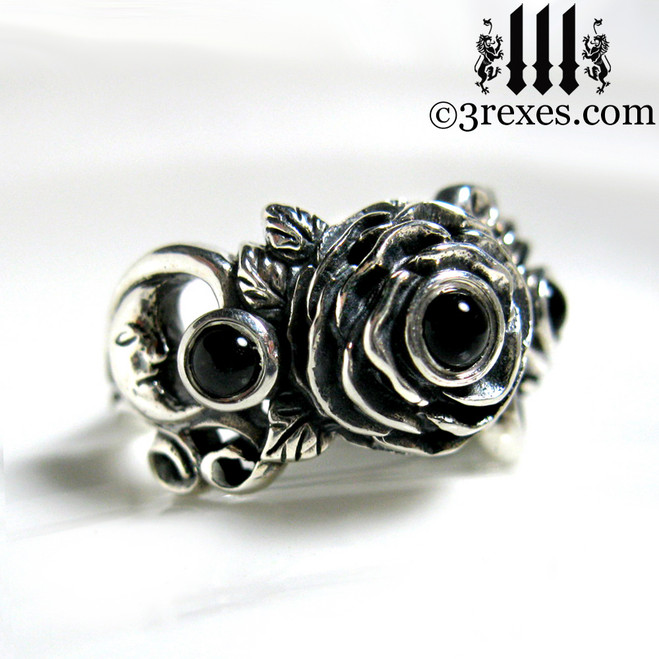 gothic silver rose moon spider ring with black onyx cabochon stone womans wedding ring