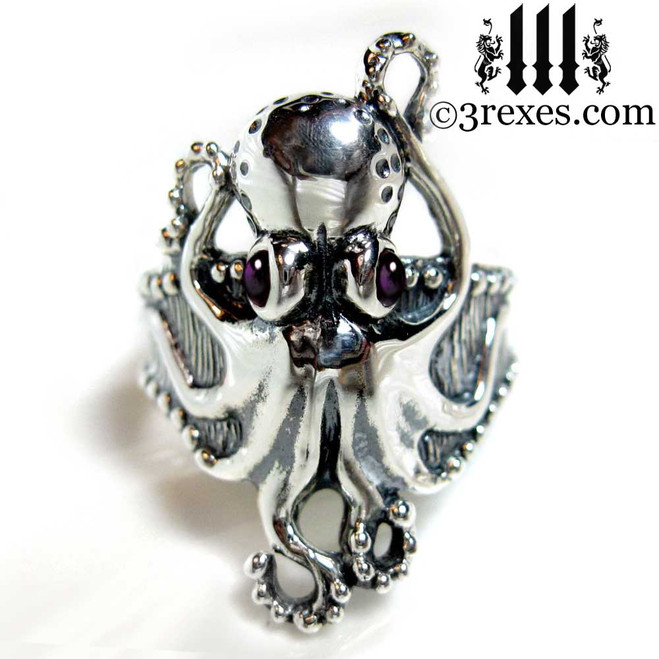 silver octopus ring with purple amethyst cabochon eyes .925 sterling steampunk steam punk jewelry 3 rexes