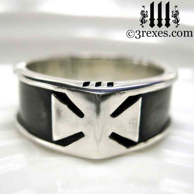 mens iron cross ring with dark antiquing knights templar masonic wedding band, biker jewelry, historic ring, royal kings ring, .925 sterling silver