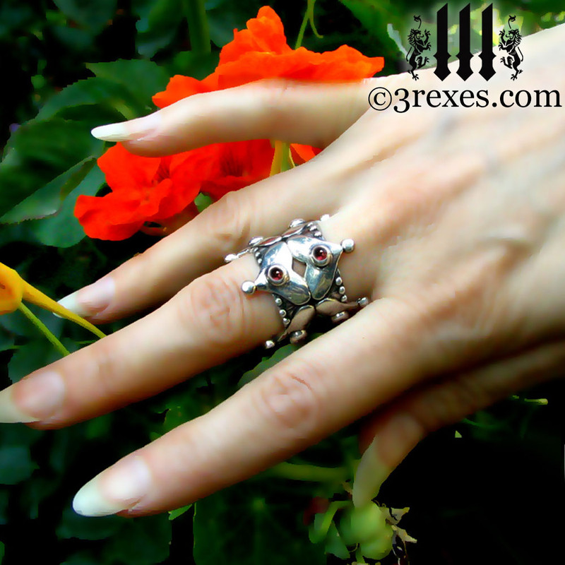 fairy tale gothic heart wedding crown on middle finger garnet cabochon stones