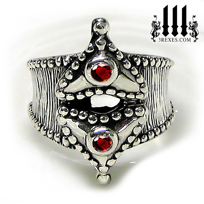 womens silver heart ring, medieval fairy tale rings  with goth garnets, alt unique jewelry