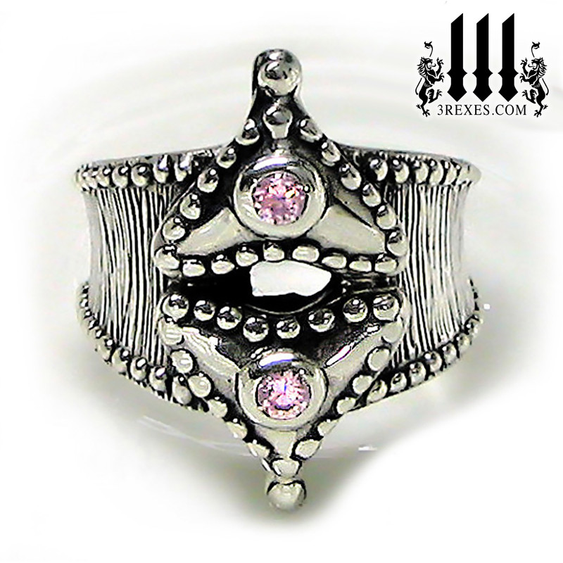 pink stone ring with hearts and studs, ladies unique promise ring, rock n roll designer, punk jewelry