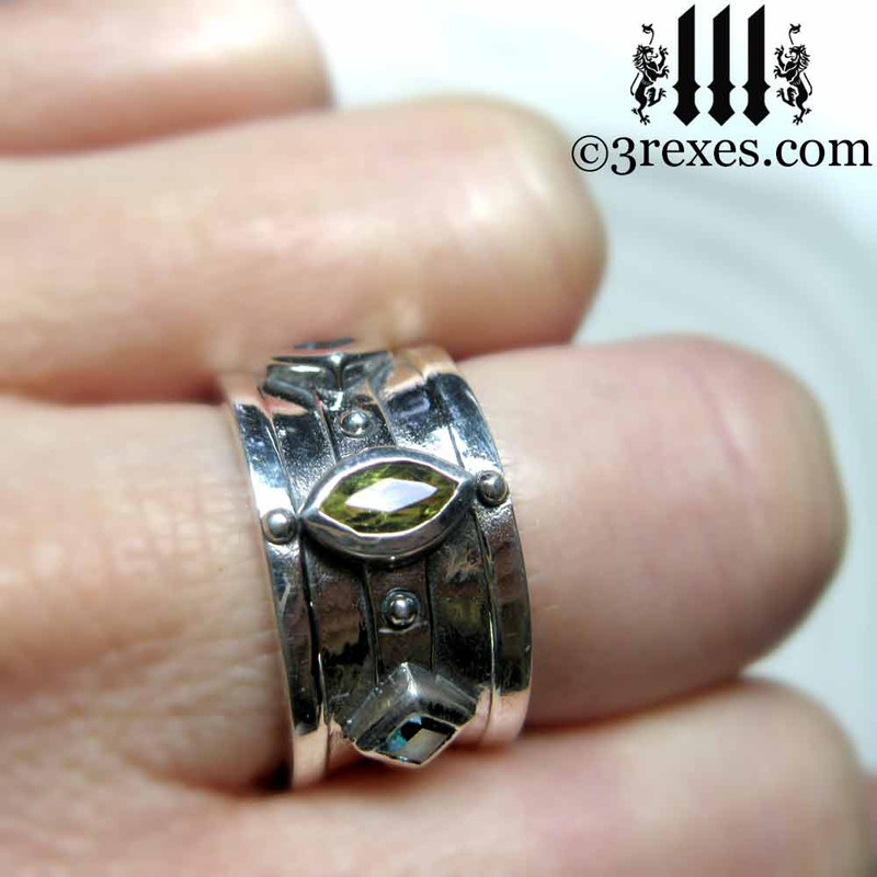 .925 sterling silver medieval ring with green peridot