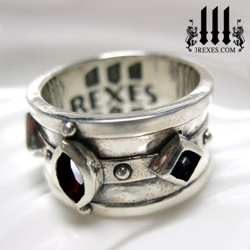 mens gothic ring with black garnet and onyx, silver wedding rings for him, moorish medieval band for knights templar and historic kings, side view by 3 rexes jewelry