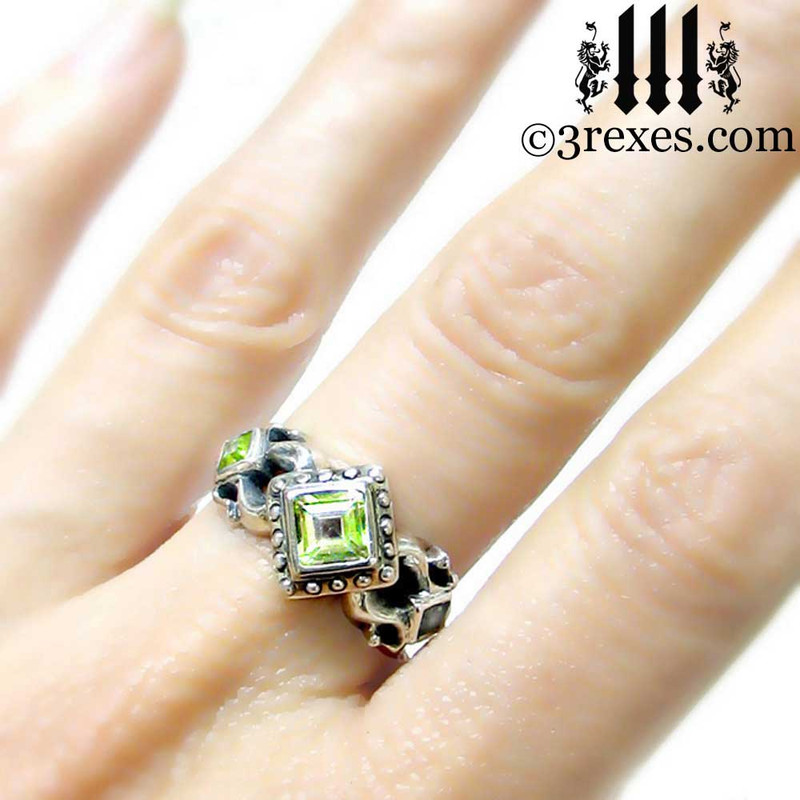 medieval wedding ring with green peridot .925 sterling silver