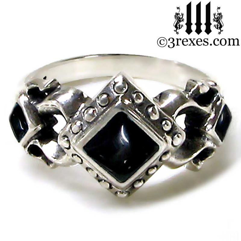 womens black stone wedding ring, alt goth engagement band, sterling silver promise ring, gift for her, dark friendship ring