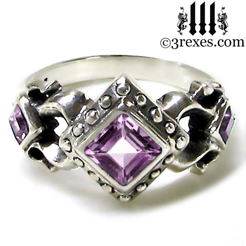 gothic wedding ring with amethyst stones .925 sterling silver jewelry for women