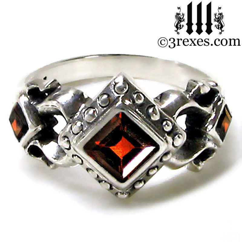 ladies medieval wedding ring with garnet stones .925 sterling silver, alt promise ring, vampire jewelry