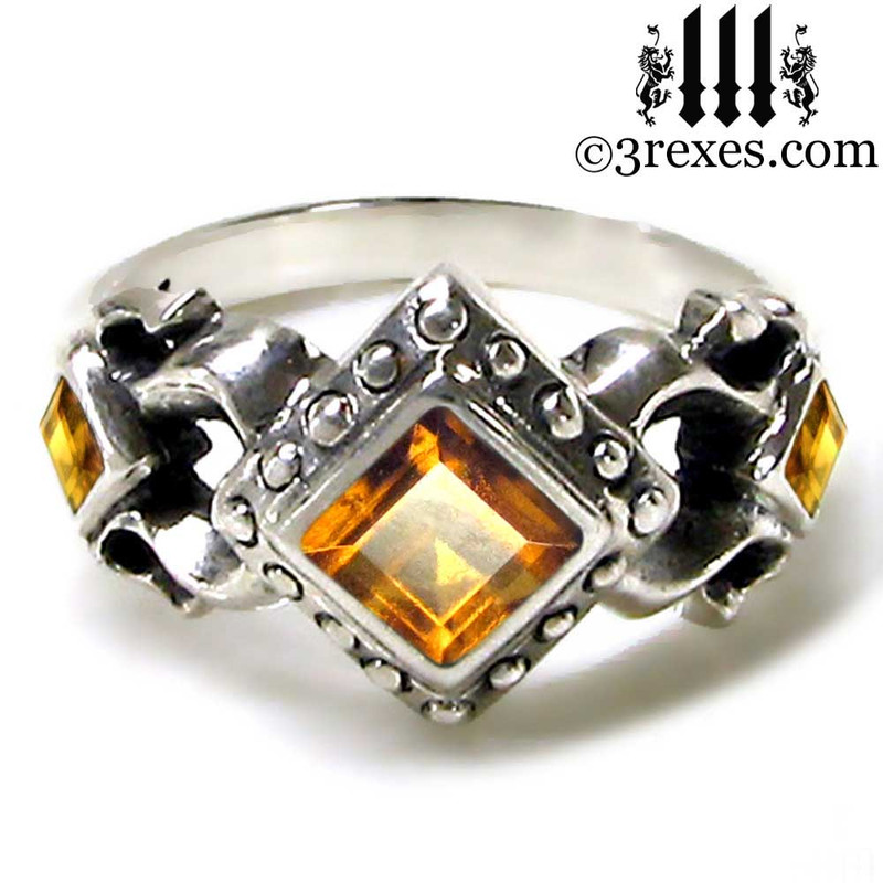 medieval wedding ring with yellow citrinet stones, .925 sterling silver, ladies gothic engagement band, princess promise ring, gift for her, royal jewelry