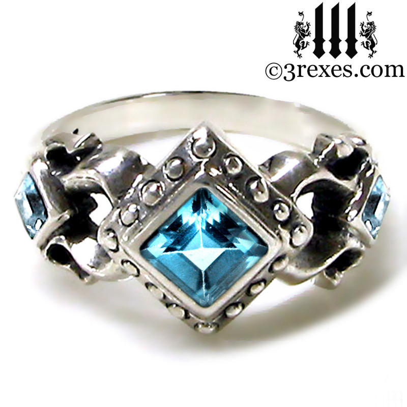 medieval wedding ring with blue topaz stones .925 sterling silver