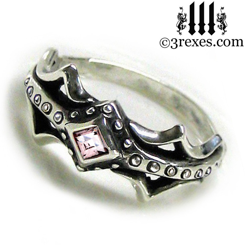 silver medieval engagement ring with pink cz stone