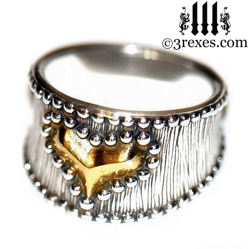 medieval studded gold heart ring side detail womans steam punk jewelry