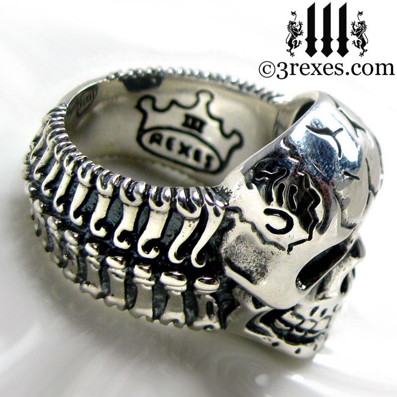 silver skull biker ring .925 sterling bone band view