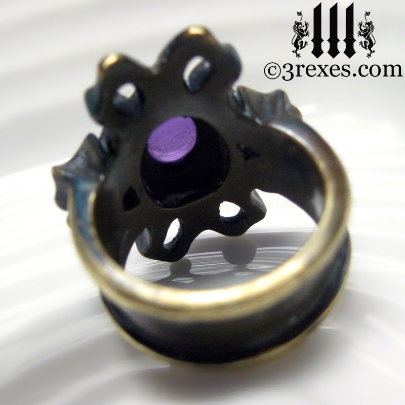 empress vampire brass ring with amethyst cabochon back detail
