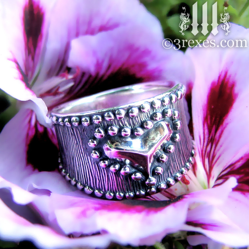 medieval studded heart ring .925 sterling silver band woman punk rock jewelry gothic wedding engagement band