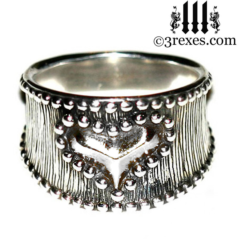 heart ring for women, gothic .925 sterling silver band, ladies goth punk rock jewelry, medieval studded royal style