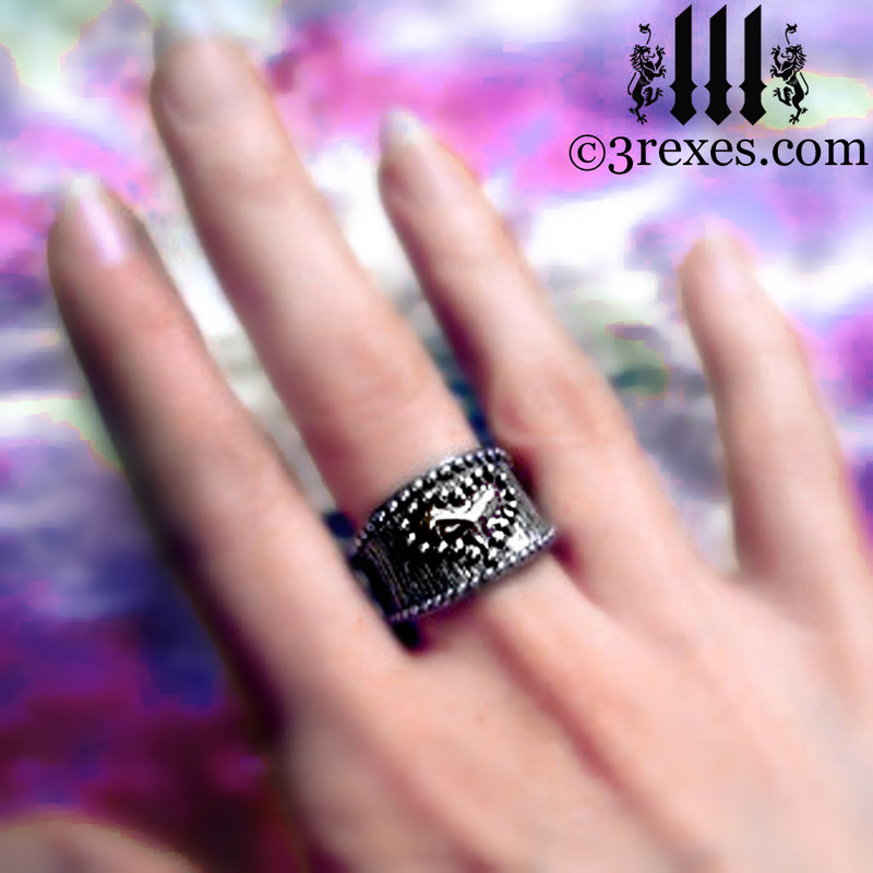 medieval studded heart ring .925 sterling silver band woman punk rock jewelry wedding engagement