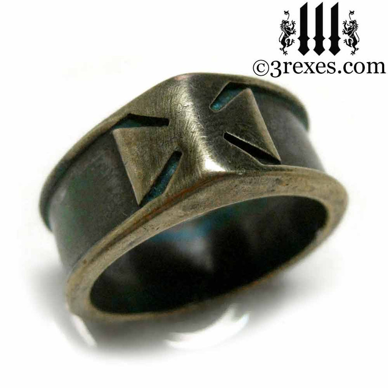 iron cross ring with darkened bronze