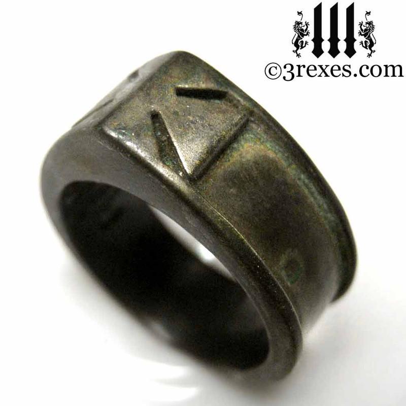 iron cross ring with darkened bronze masonic knights templar band