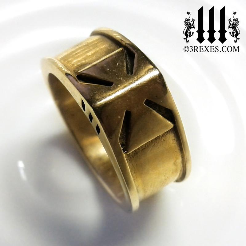iron cross ring bronze masonic knights templar band