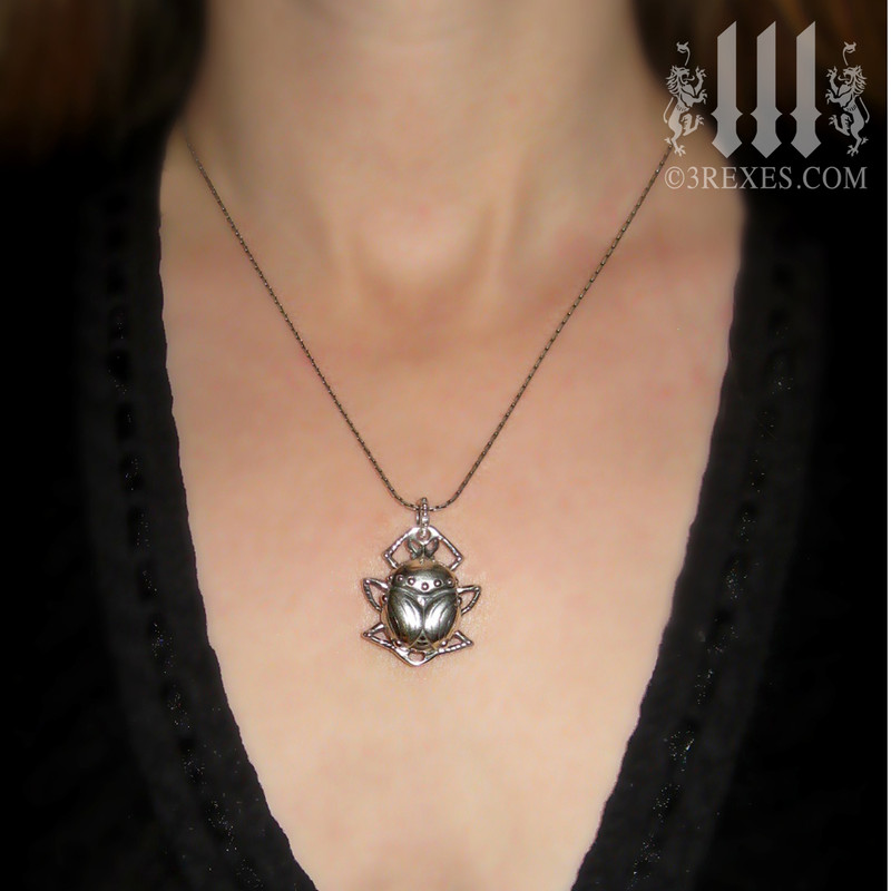 Forever Scarab Silver Necklace