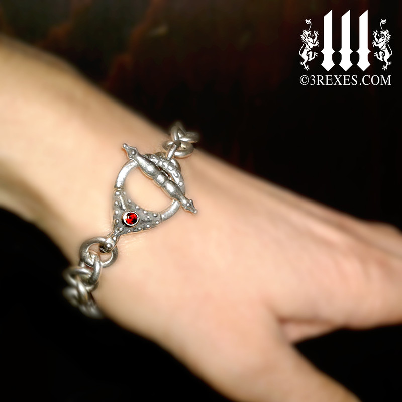"Eros Heart Charm Bracelet .925 Sterling Silver Gothic Fairytale Red Garnet Stone 8"" model collectors jewelry designer"