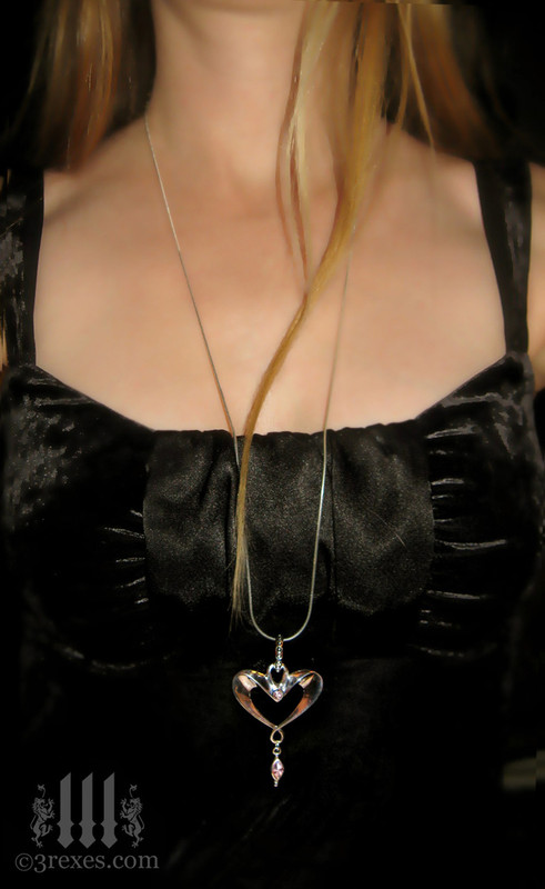 "eros heart necklace 30"" long snake chain"