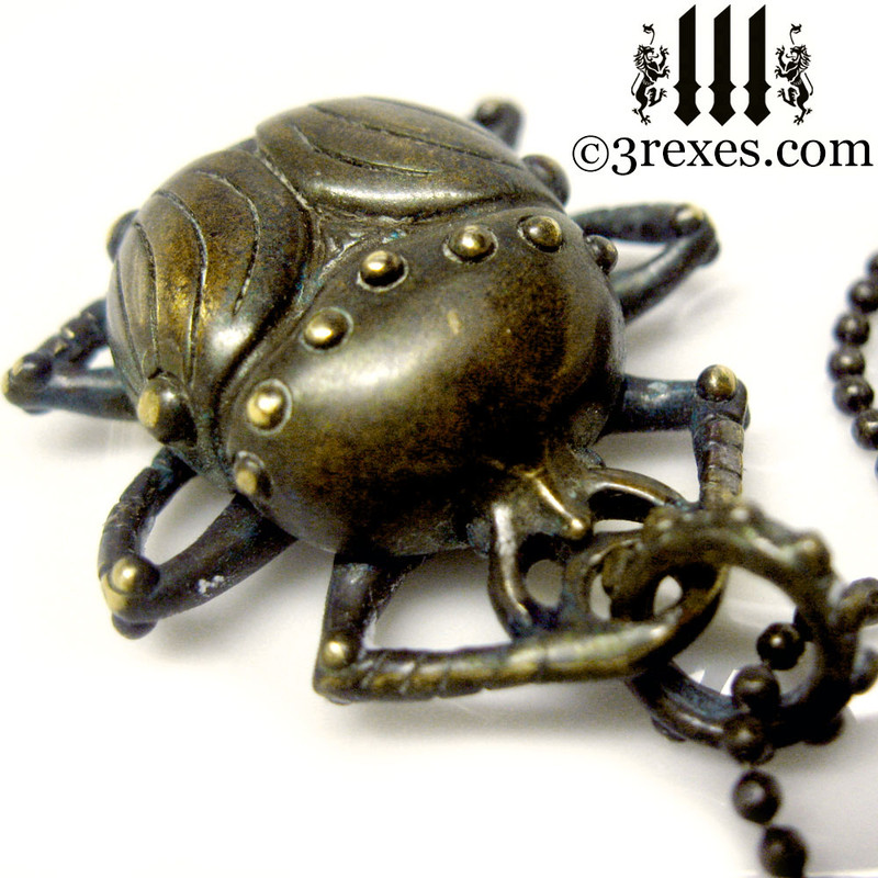 scarab egyptian beetle necklace dark brass front view