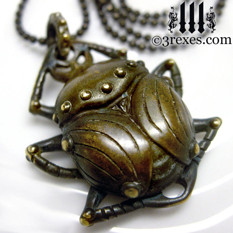 scarab egyptian beetle necklace dark brass