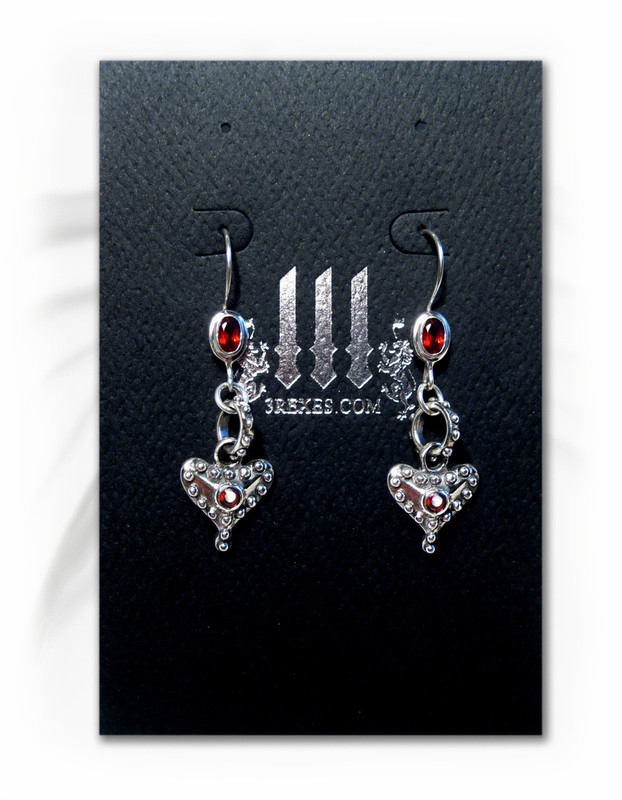 .925 silver gothic heart earrings on 3 rexes earring card