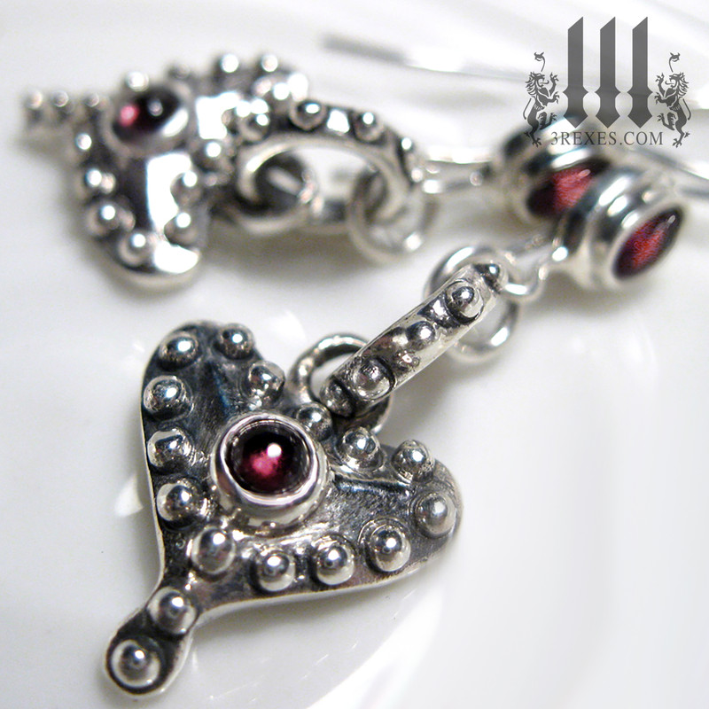 silver heart earrings with garnet cabochons, heart charms gift