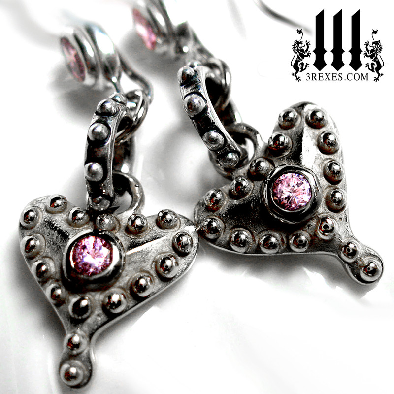 ladies silver gothic heart earrings with pink cz