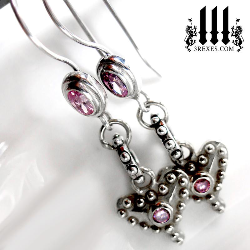 pink stone heart earrings, charm jewelry
