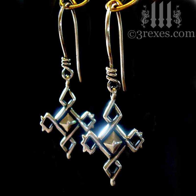 .925 sterling silver celtic cross charm earrings