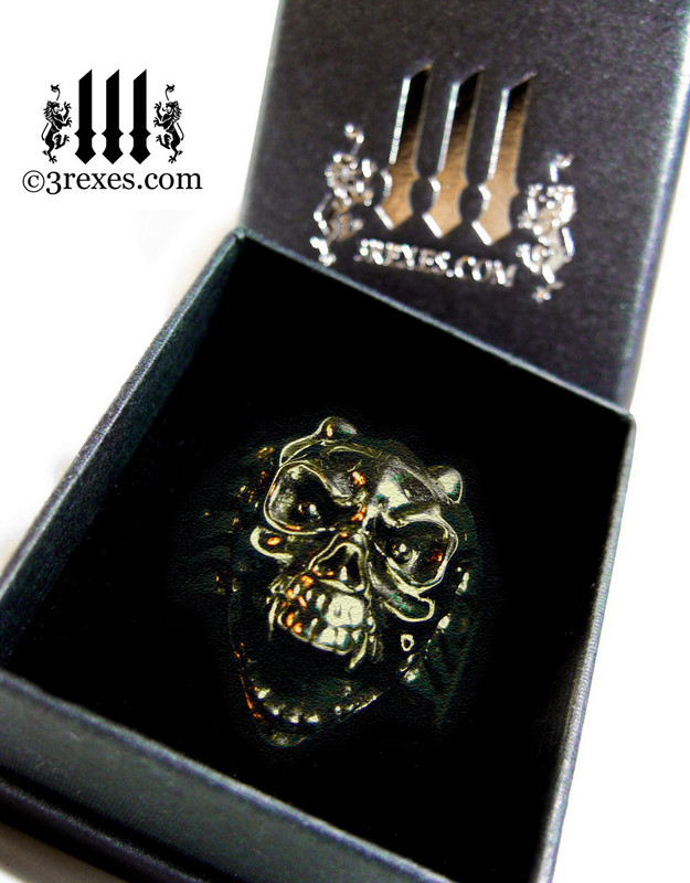 3 rexes prestige ring box with brass gargoyle devil ring