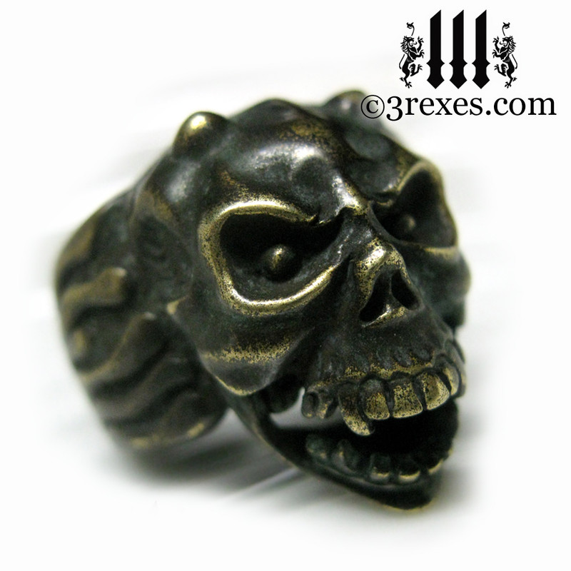 brass gargoyle devil ring with open jaw